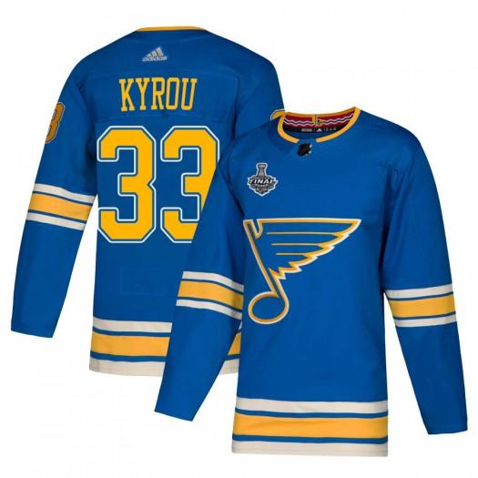 Jordan Kyrou St. Louis Blues Men's Adidas Authentic Blue Alternate 2019 Stanley Cup Final Bound Jersey