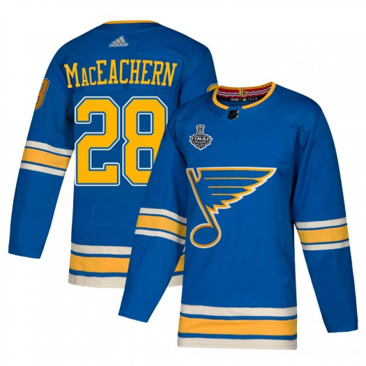 MacKenzie MacEachern St. Louis Blues Men's Adidas Authentic Blue Mackenzie MacEachern Alternate 2019 Stanley Cup Final Bound Jer