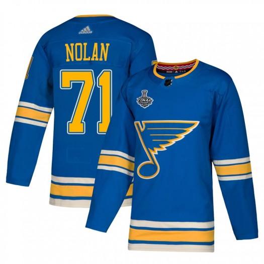 Jordan Nolan St. Louis Blues Men's Adidas Authentic Blue Alternate 2019 Stanley Cup Final Bound Jersey