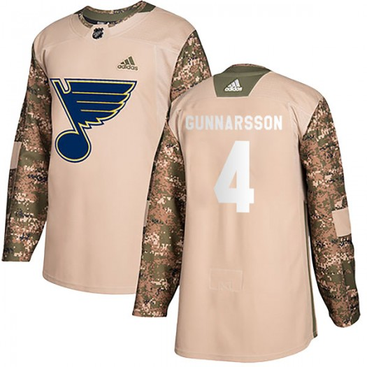 Carl Gunnarsson St. Louis Blues Men's Adidas Authentic Camo Veterans Day Practice Jersey