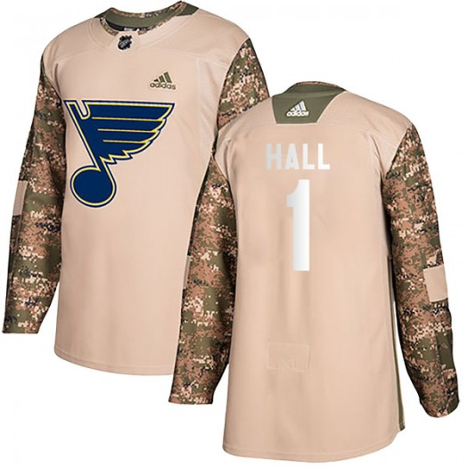 Glenn Hall St. Louis Blues Men's Adidas Authentic Camo Veterans Day Practice Jersey