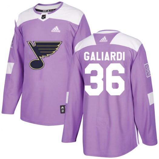 T.J. Galiardi St. Louis Blues Youth Adidas Authentic Purple Hockey Fights Cancer Jersey