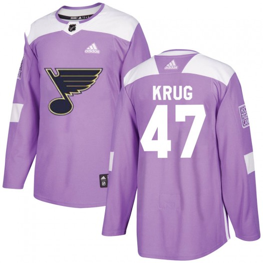 Torey Krug St. Louis Blues Youth Adidas Authentic Purple Hockey Fights Cancer Jersey