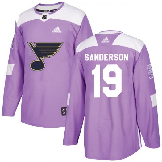 Derek Sanderson St. Louis Blues Youth Adidas Authentic Purple Hockey Fights Cancer Jersey