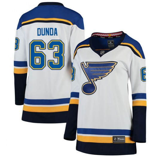 Liam Dunda St. Louis Blues Women's Fanatics Branded White Breakaway Away Jersey