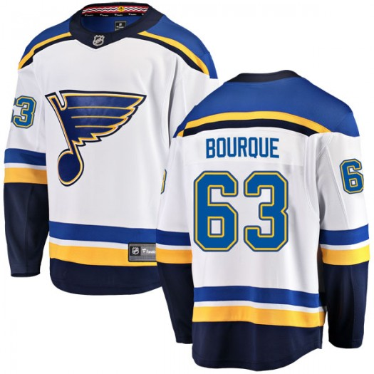Trenton Bourque St. Louis Blues Men's Fanatics Branded White Breakaway Away Jersey