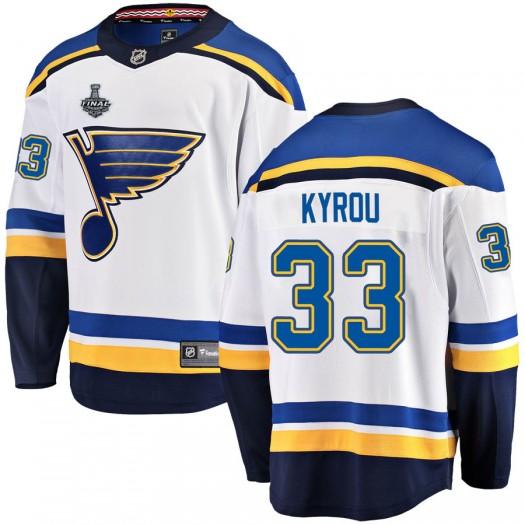 Jordan Kyrou St. Louis Blues Youth Fanatics Branded White Breakaway Away 2019 Stanley Cup Final Bound Jersey