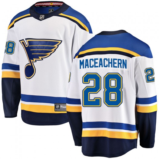 MacKenzie MacEachern St. Louis Blues Youth Fanatics Branded White Mackenzie MacEachern Breakaway Away Jersey