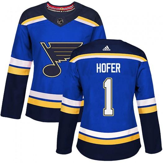Joel Hofer St. Louis Blues Women's Adidas Authentic Blue Home Jersey
