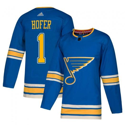 Joel Hofer St. Louis Blues Men's Adidas Authentic Blue Alternate Jersey