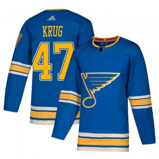 Torey Krug St. Louis Blues Men's Adidas Authentic Blue Alternate Jersey