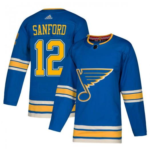 Zach Sanford St. Louis Blues Men's Adidas Authentic Blue Alternate Jersey