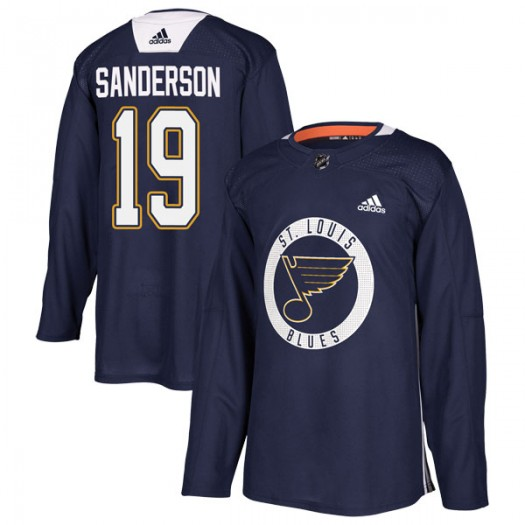Derek Sanderson St. Louis Blues Youth Adidas Authentic Blue Practice Jersey