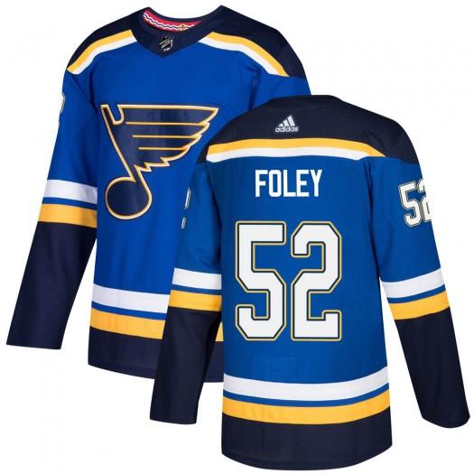 Erik Foley St. Louis Blues Men's Adidas Authentic Blue Home Jersey