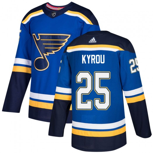 Jordan Kyrou St. Louis Blues Youth Adidas Authentic Blue Home Jersey