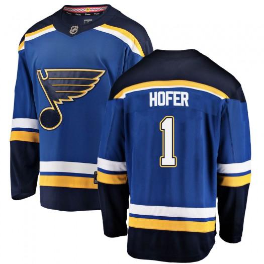 Joel Hofer St. Louis Blues Youth Fanatics Branded Blue Breakaway Home Jersey