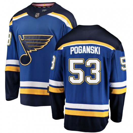 Austin Poganski St. Louis Blues Men's Fanatics Branded Blue ized Breakaway Home Jersey
