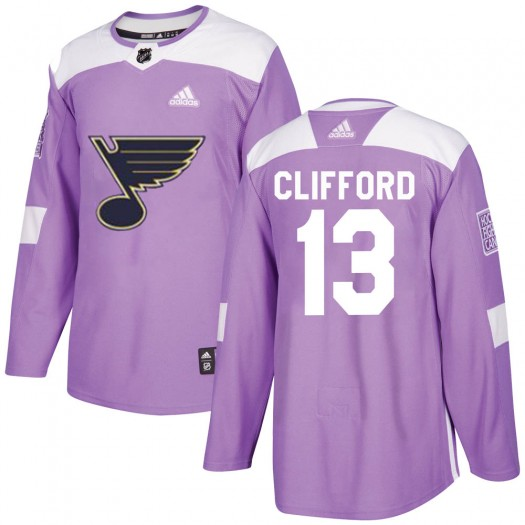 Kyle Clifford St. Louis Blues Men's Adidas Authentic Purple Hockey Fights Cancer Jersey