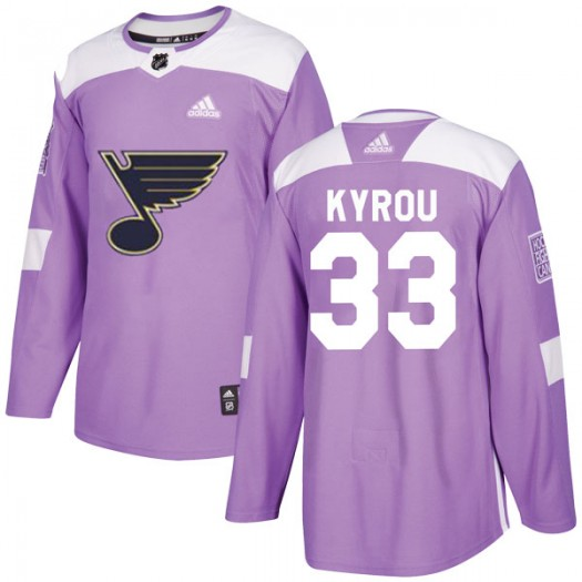 Jordan Kyrou St. Louis Blues Men's Adidas Authentic Purple Hockey Fights Cancer Jersey