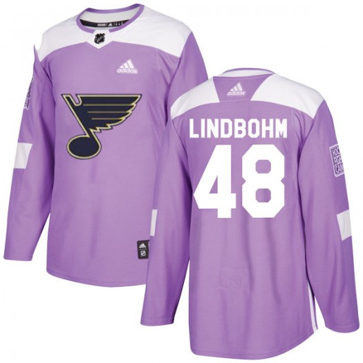 Petteri Lindbohm St. Louis Blues Men's Adidas Authentic Purple Hockey Fights Cancer Jersey