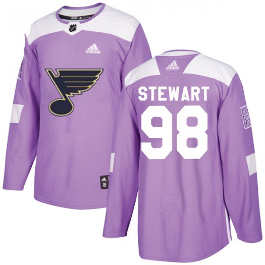 Tyler Stewart St. Louis Blues Men's Adidas Authentic Purple Hockey Fights Cancer Jersey