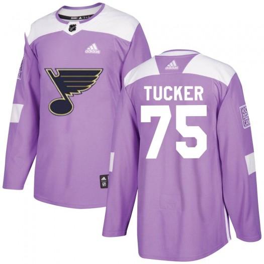 Tyler Tucker St. Louis Blues Men's Adidas Authentic Purple Hockey Fights Cancer Jersey