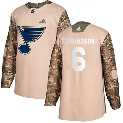 Joel Edmundson St. Louis Blues Youth Adidas Authentic Camo Veterans Day Practice Jersey