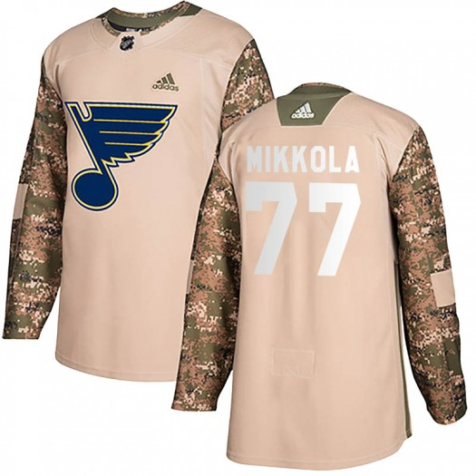 Niko Mikkola St. Louis Blues Youth Adidas Authentic Camo Veterans Day Practice Jersey