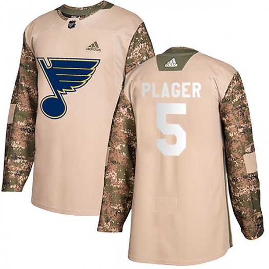 Bob Plager St. Louis Blues Youth Adidas Authentic Camo Veterans Day Practice Jersey