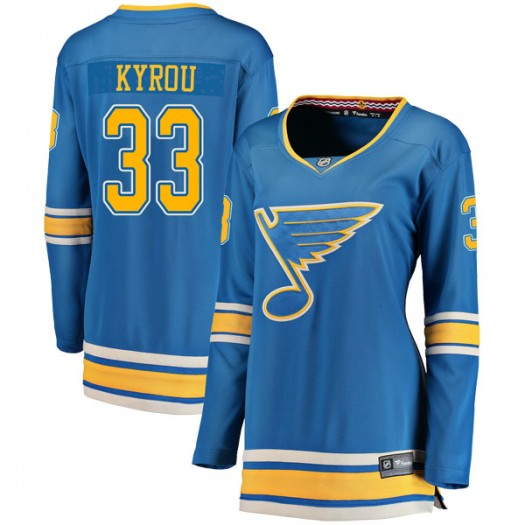 Jordan Kyrou St. Louis Blues Women's Fanatics Branded Blue Breakaway Alternate Jersey