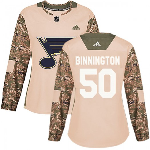 Jordan Binnington St. Louis Blues Women's Adidas Authentic Camo Veterans Day Practice Jersey