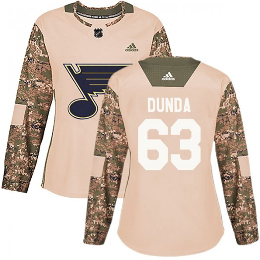 Liam Dunda St. Louis Blues Women's Adidas Authentic Camo Veterans Day Practice Jersey