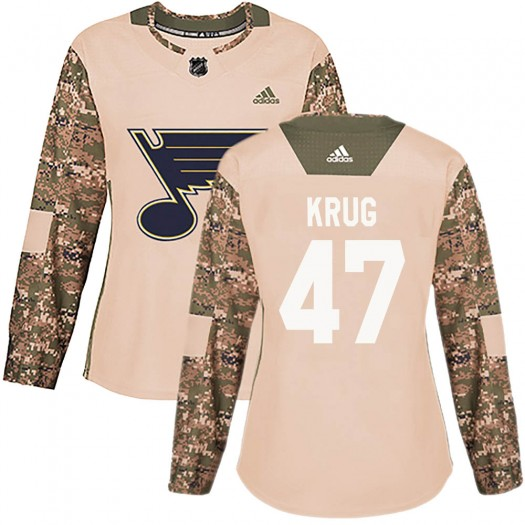 Torey Krug St. Louis Blues Women's Adidas Authentic Camo Veterans Day Practice Jersey