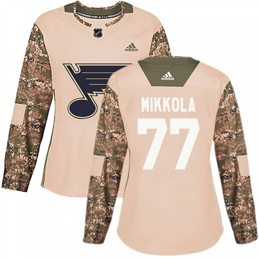 Niko Mikkola St. Louis Blues Women's Adidas Authentic Camo Veterans Day Practice Jersey