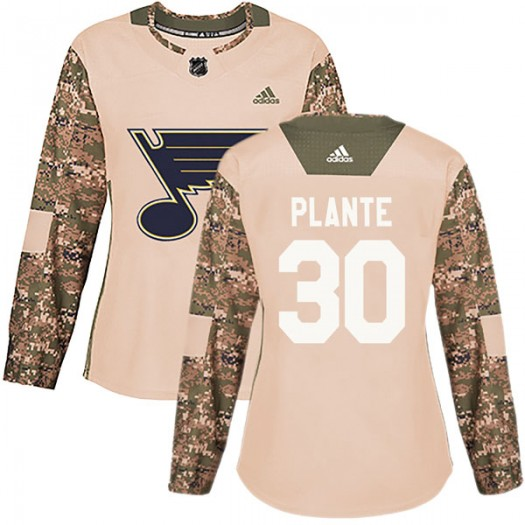 Jacques Plante St. Louis Blues Women's Adidas Authentic Camo Veterans Day Practice Jersey
