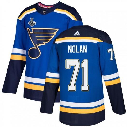 Jordan Nolan St. Louis Blues Men's Adidas Authentic Blue Home 2019 Stanley Cup Final Bound Jersey