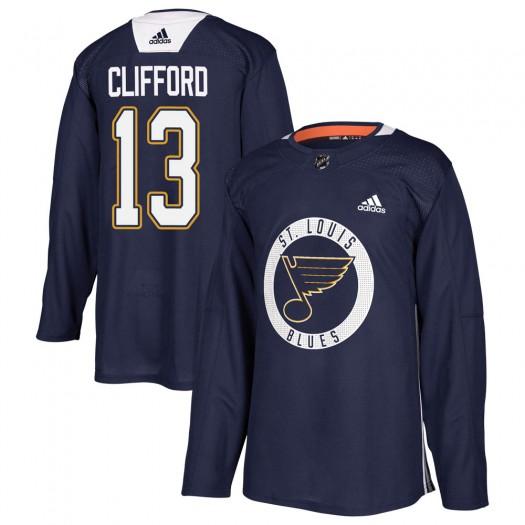 Kyle Clifford St. Louis Blues Men's Adidas Authentic Blue Practice Jersey