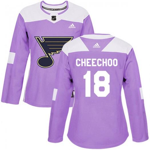 Jonathan Cheechoo St. Louis Blues Women's Adidas Authentic Purple Hockey Fights Cancer Jersey