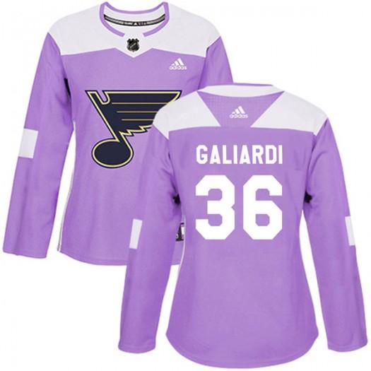 T.J. Galiardi St. Louis Blues Women's Adidas Authentic Purple Hockey Fights Cancer Jersey