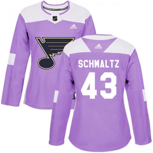 Jordan Schmaltz St. Louis Blues Women's Adidas Authentic Purple Hockey Fights Cancer Jersey