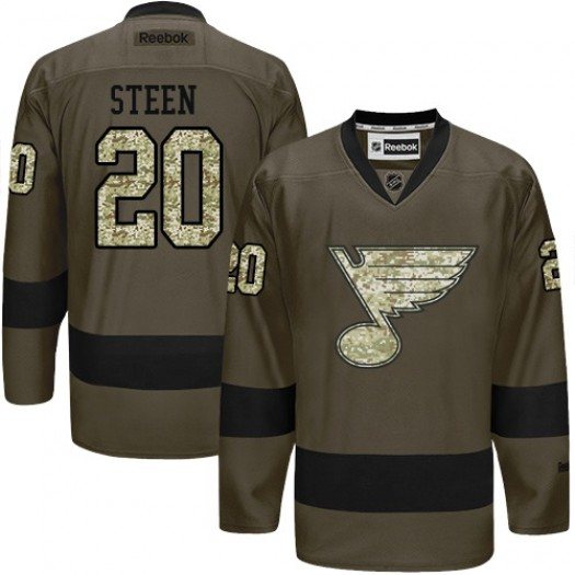 Alexander Steen St. Louis Blues Men's Reebok Premier Green Salute to Service Jersey