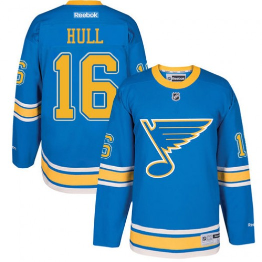 Brett Hull St. Louis Blues Men's Reebok Premier Blue 2017 Winter Classic Jersey