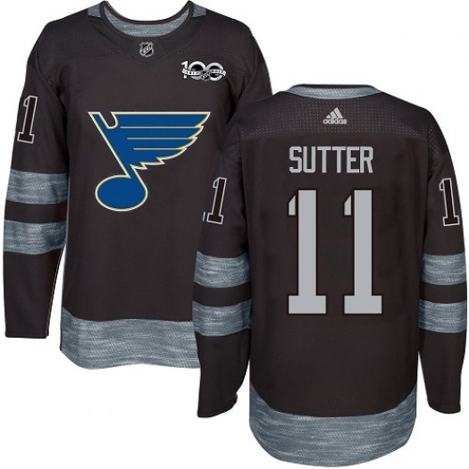 Brian Sutter St. Louis Blues Men's Adidas Premier Black 1917-2017 100th Anniversary Jersey