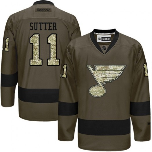 Brian Sutter St. Louis Blues Men's Reebok Authentic Green Salute to Service Jersey