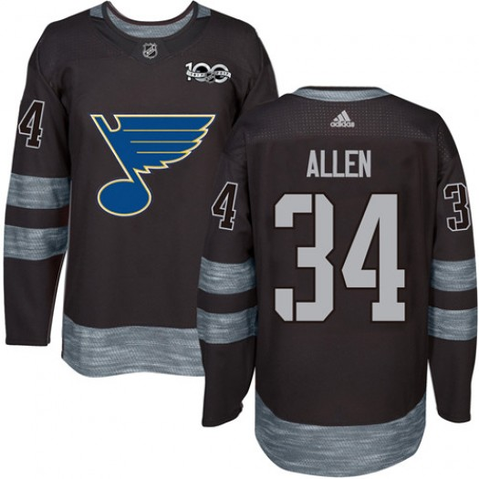 Jake Allen St. Louis Blues Men's Adidas Authentic Black 1917-2017 100th Anniversary Jersey