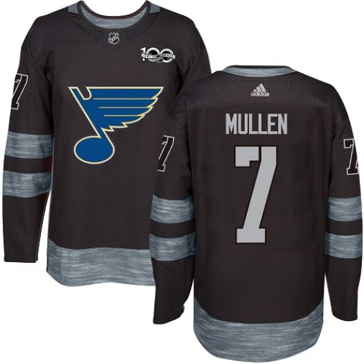 Joe Mullen St. Louis Blues Men's Adidas Authentic Black 1917-2017 100th Anniversary Jersey