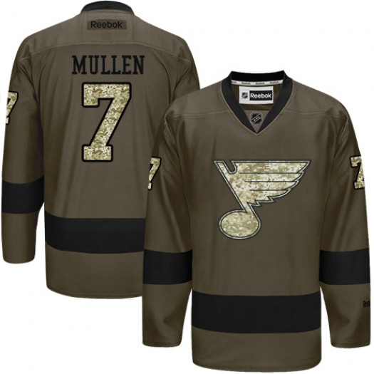 Joe Mullen St. Louis Blues Men's Reebok Authentic Green Salute to Service Jersey