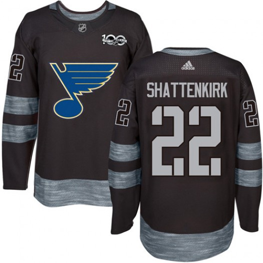 Kevin Shattenkirk St. Louis Blues Men's Adidas Authentic Black 1917-2017 100th Anniversary Jersey