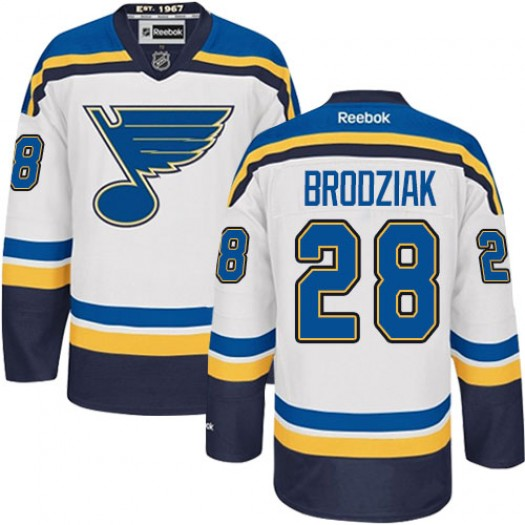 Kyle Brodziak St. Louis Blues Men's Reebok Authentic White Away Jersey