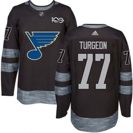 Pierre Turgeon St. Louis Blues Men's Adidas Premier Black 1917-2017 100th Anniversary Jersey
